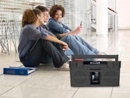 iHome iBT44 Bluetooth Mega Boombox mit FM Radio, gummiert, grau Stereo, Batterie – Bild 2