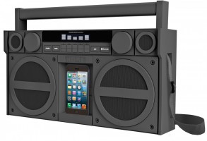 iHome iBT44 Bluetooth Mega Boombox mit FM Radio, gummiert, grau Stereo, Batterie – Bild 1
