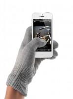 Mujjo Touchscreen Gloves Handschuh iPhone Smartphone hellgrau (S/M) Silber-Garn