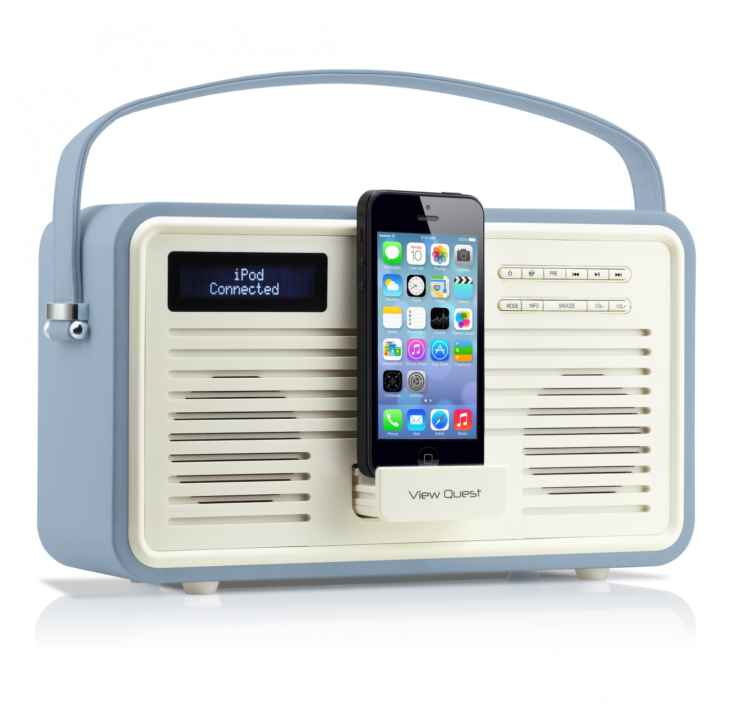 view quest retro fm dab radio lautsprecher iphone dockingstation lightning blau ebay. Black Bedroom Furniture Sets. Home Design Ideas