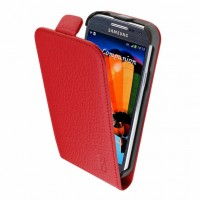 Artwizz SeeJacket Leather FLIP+ Schutzhülle für Samsung Galaxy S4 mini - elegantes Etui aus echtem Leder mit komfortablen Magnetverschluss - Business-Case designed in Berlin - rot 1424-SJLF+S4MR – Bild 1