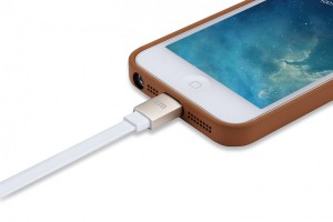 Just Mobile AluCable 1,2m USB Lightning Lade Kabel Flach iPod iPhone iPad gold weiß – Bild 3