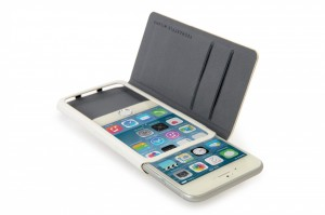 "Tucano Leggero booklet case for iPhone 6 4.7"", Eco leather with cards function, White"