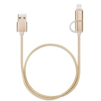1heit Premium USB zu Micro USB Kabel inkl. Lightning Adapter Nylon Ladekabel Android iPhone 2 in 1 Gold – Bild 2