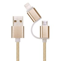 1heit Premium USB zu Micro USB Kabel inkl. Lightning Adapter Nylon Ladekabel Android iPhone 2 in 1 Gold – Bild 3