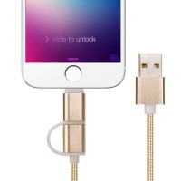 1heit Premium USB zu Micro USB Kabel inkl. Lightning Adapter Nylon Ladekabel Android iPhone 2 in 1 Gold – Bild 4