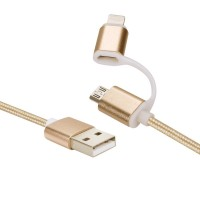 1heit Premium USB zu Micro USB Kabel inkl. Lightning Adapter Nylon Ladekabel Android iPhone 2 in 1 Gold – Bild 5