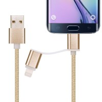 1heit Premium USB zu Micro USB Kabel inkl. Lightning Adapter Nylon Ladekabel Android iPhone 2 in 1 Gold – Bild 6