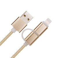 1heit Premium USB zu Micro USB Kabel inkl. Lightning Adapter Nylon Ladekabel Android iPhone 2 in 1 Gold – Bild 7