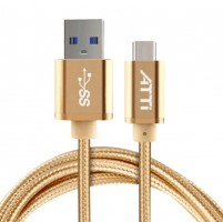 ATTi Type-C 3.0 to USB 3.1 Daten Kabel USB-Kabel USB-C Nylon Unibody 2m Gold