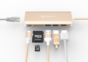 Adam Elements CASA HUB A01 - 6 Port Hub für USB-C, HDMI, USB, SD-Karte - Gold – Bild 2